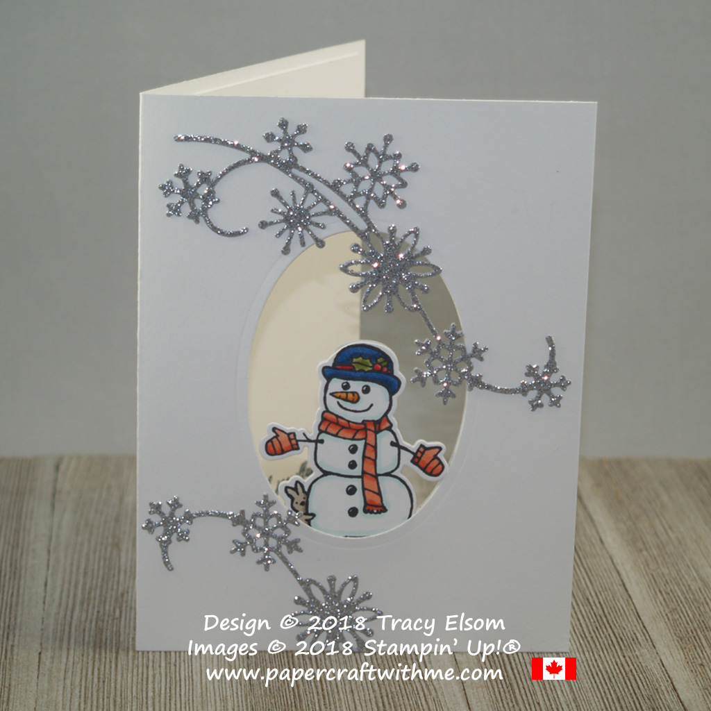 See-through snowman card created using Seasonal Chums Stamp Set and Snowfall Thinlits Dies from Stampin' Up!