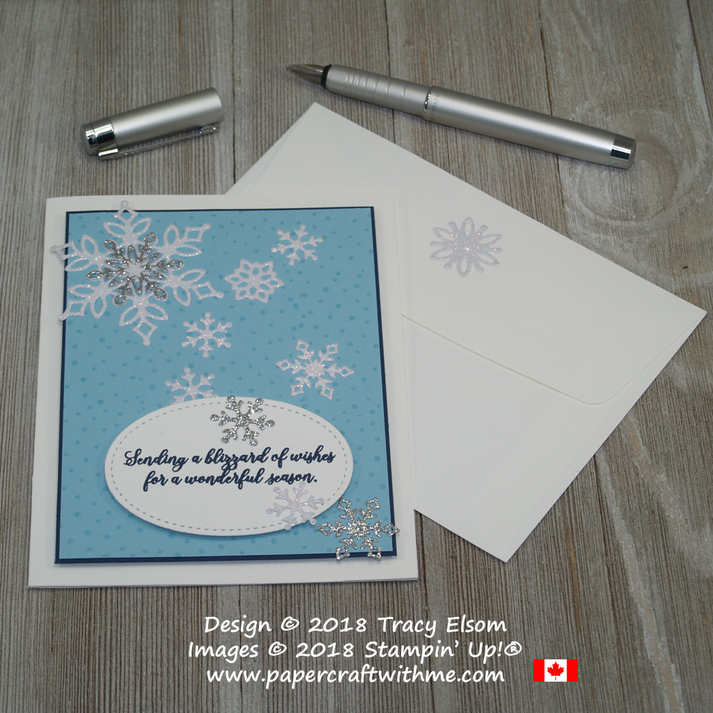 Pretty blue Christmas card created using the Snow is Glistening Stamp Set and Snowfall Thinlits Dies from Stampin' Up!