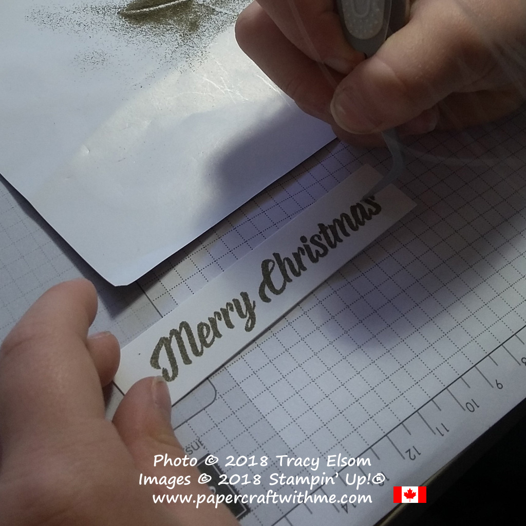 "Removing stray specks of powder before embossing the 'Merry Christmas"" sentiment."
