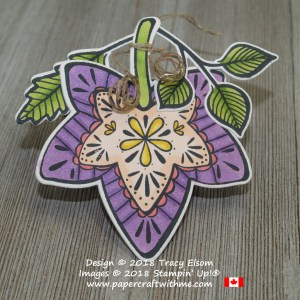 Large brightly coloured leaf gift tag created using the Falling for Leaves Stamp Set and coordinating Detailed Leaves Thinlits from Stampin' Up!