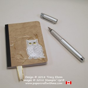 Mini notebook decorated with the owl from the Still Night Stamp Set & coordinating Night Owl Thinlits Dies from Stampin' Up!