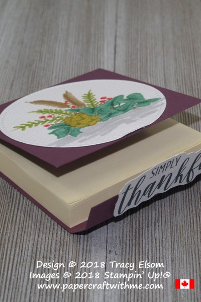 """3"""" x 3"""" Post-It Note Pad decorated with simply thankful (altered) sentiment and floral image from the Country Home Stamp Set from Stampin' Up!"""