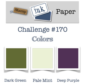 Stamp Ink Paper Challenge SIP170 Colors - dark green, pale mint & deep purple (October 2-7, 2018)