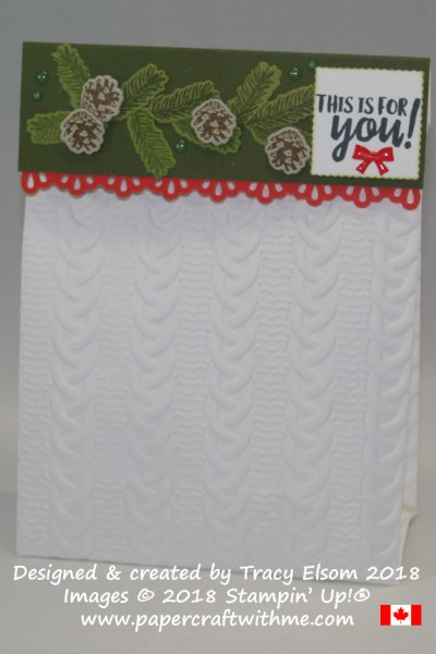 Paper treat bag embellished using Cable Knit Dynamic embossing folder, Winter Woods Stamp Set and coordinating In The Woods Framelits Dies, with a sentiment from the Takeout Treats Stamp Set, all from Stampin' Up!