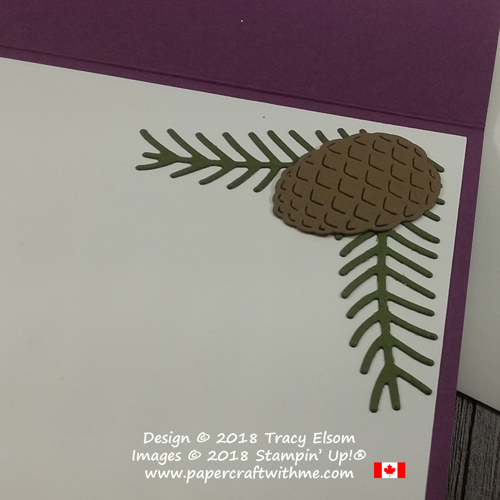 Pine branches and cones from the Pretty Pines Thinlits Dies from Stampin' Up!