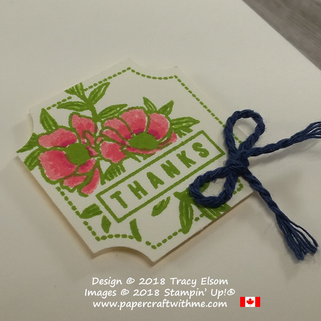 Close up of note card with floral thanks layer created using the Darling Label Punch Box from Stampin' Up!