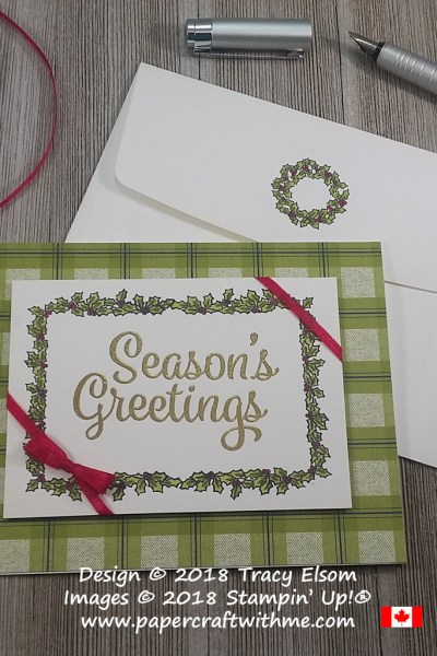 Season's Greetings card with chocolate box design and holly border created using the At Home With You Stamp Set from Stampin' Up!
