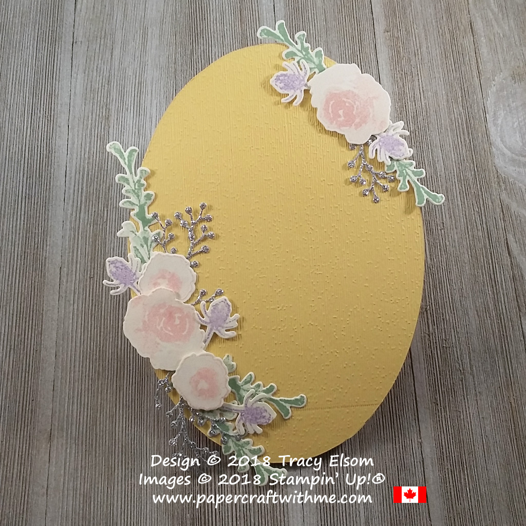 Decorative plaque with floral sprays created using the First Frost Stamp Set and Frosted Bouquet Framelits from Stampin' Up!