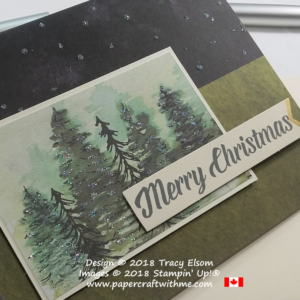 Close up of sparkling trees alternate card idea for Timeless Tidings Project Kit from Stampin' Up!