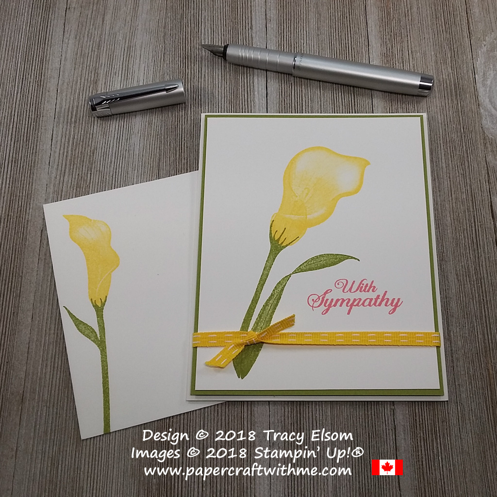 Simple arum lily sympathy card created using the FREE Lasting Lily Stamp Set from Stampin' Up!