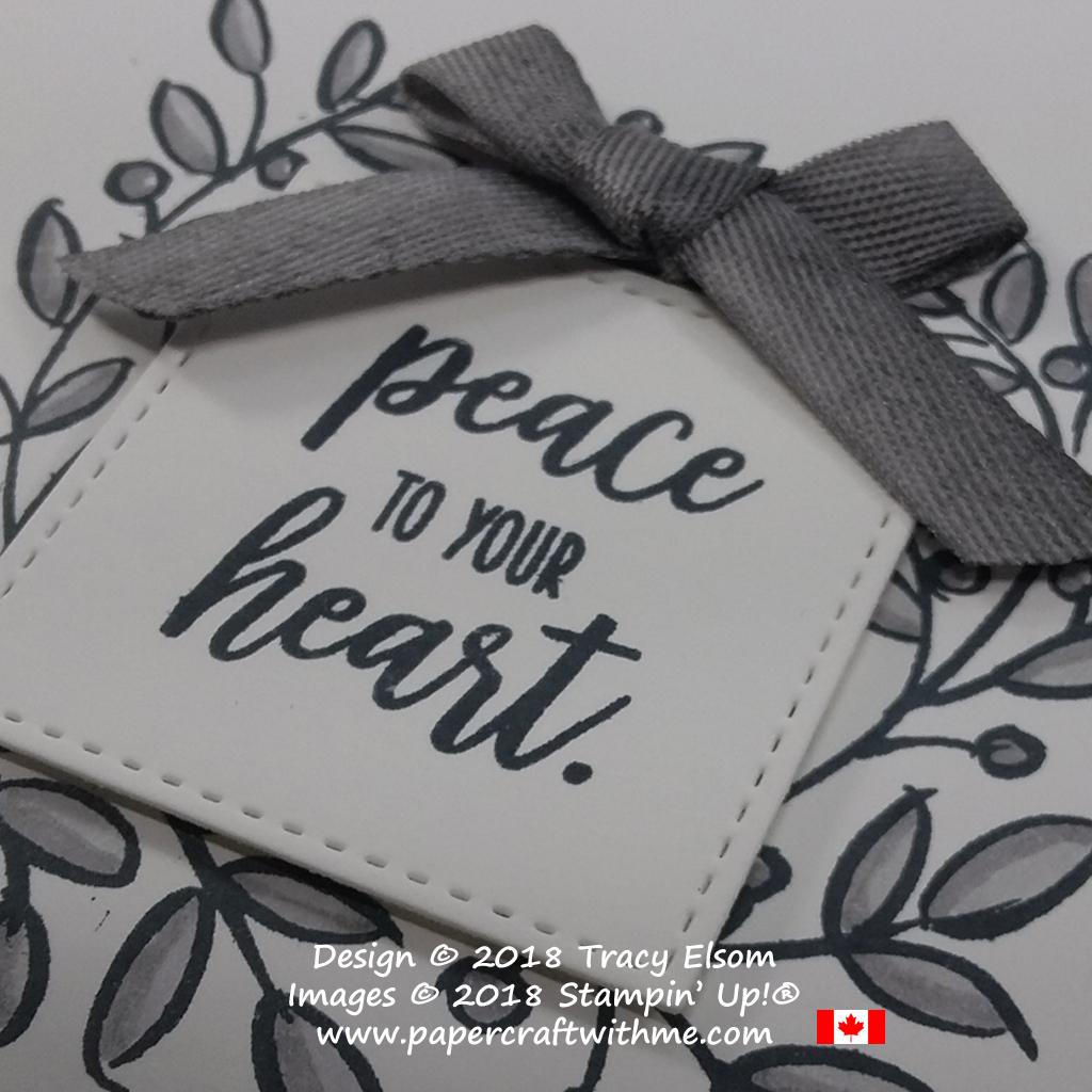 Close up of grey peace to your heart card created using the Feathers & Frost Stamp Set from the Stampin' Up! 2019 Retiring List