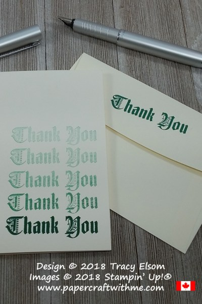 Simple thank you note card created using one ink pad and the Painted Glass Stamp Set from Stampin' Up! #simplestamping