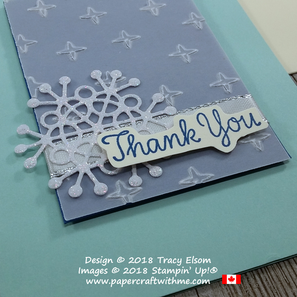 Close up of winter thank you card created using the Thankful Thoughts Stamp Set and Seasonal Layers Thinlits Dies from Stampin' Up!