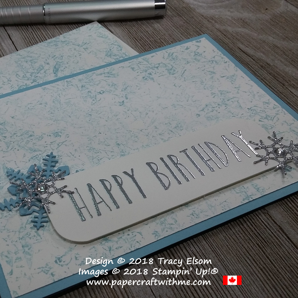 Close up of winter birthday card created using the Perennial Birthday Stamp Set over a cracked ice background effect.