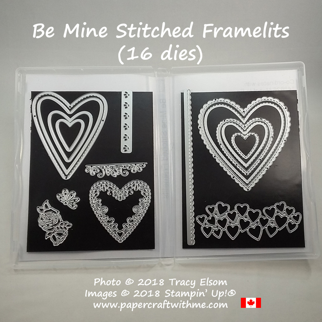 Be Mine Stitched Framelits Dies from Stampin' Up! available January 3, 2018. Order online for delivery anywhere in Canada at www.papercraftwithme.com
