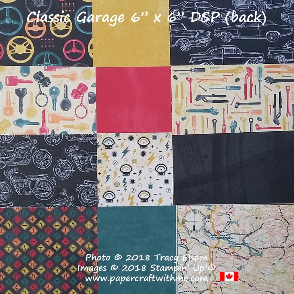 """Close up of sections of the Classic Garage 6"""" x 6"""" Designer Series Paper stack (back) from Stampin Up!"""