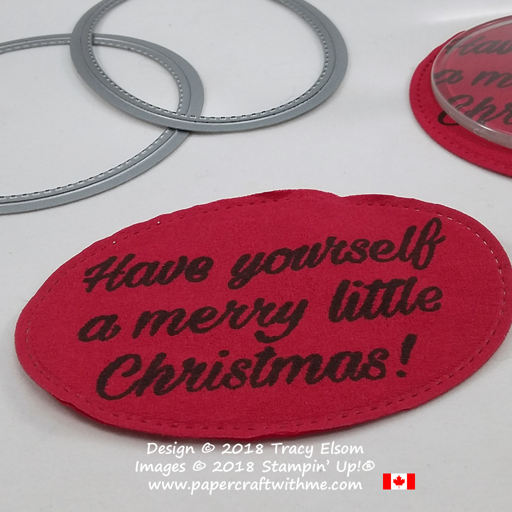 Close up of custom drink coaster created using a sentiment from the Peaceful Poinsettia Stamp Set from Stampin' Up!