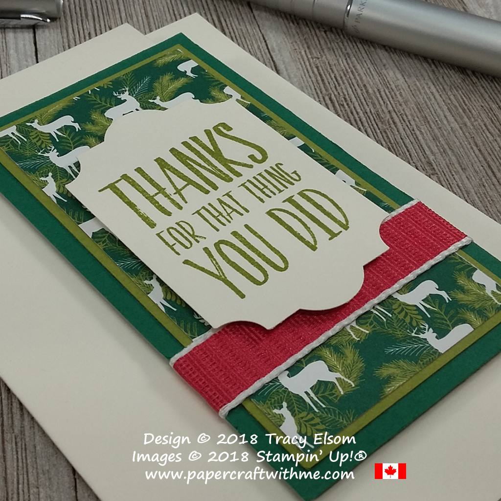 Close up of gift card note card created using the All Things Thanks Stamp Set from Stampin' Up!
