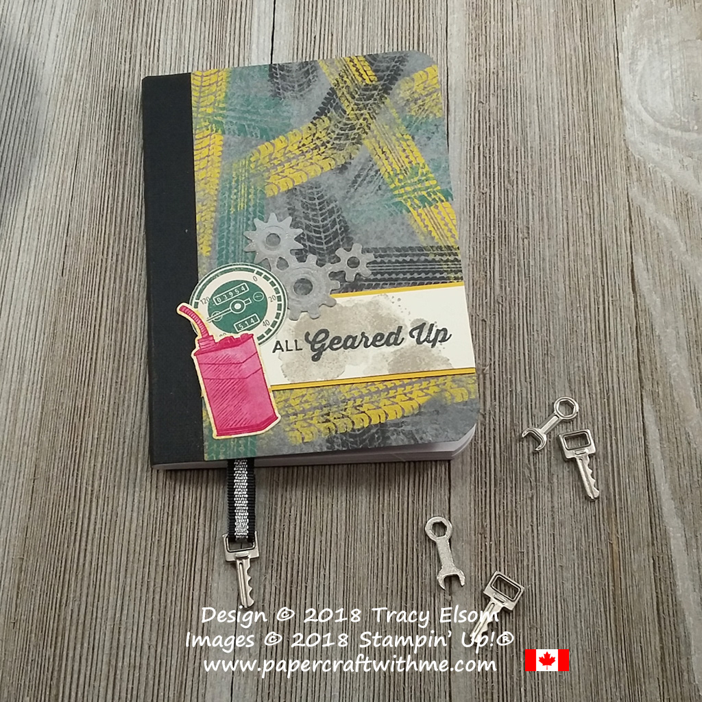 Masculine notebook decorated using products from the Classic Garage suite from Stampin' Up!