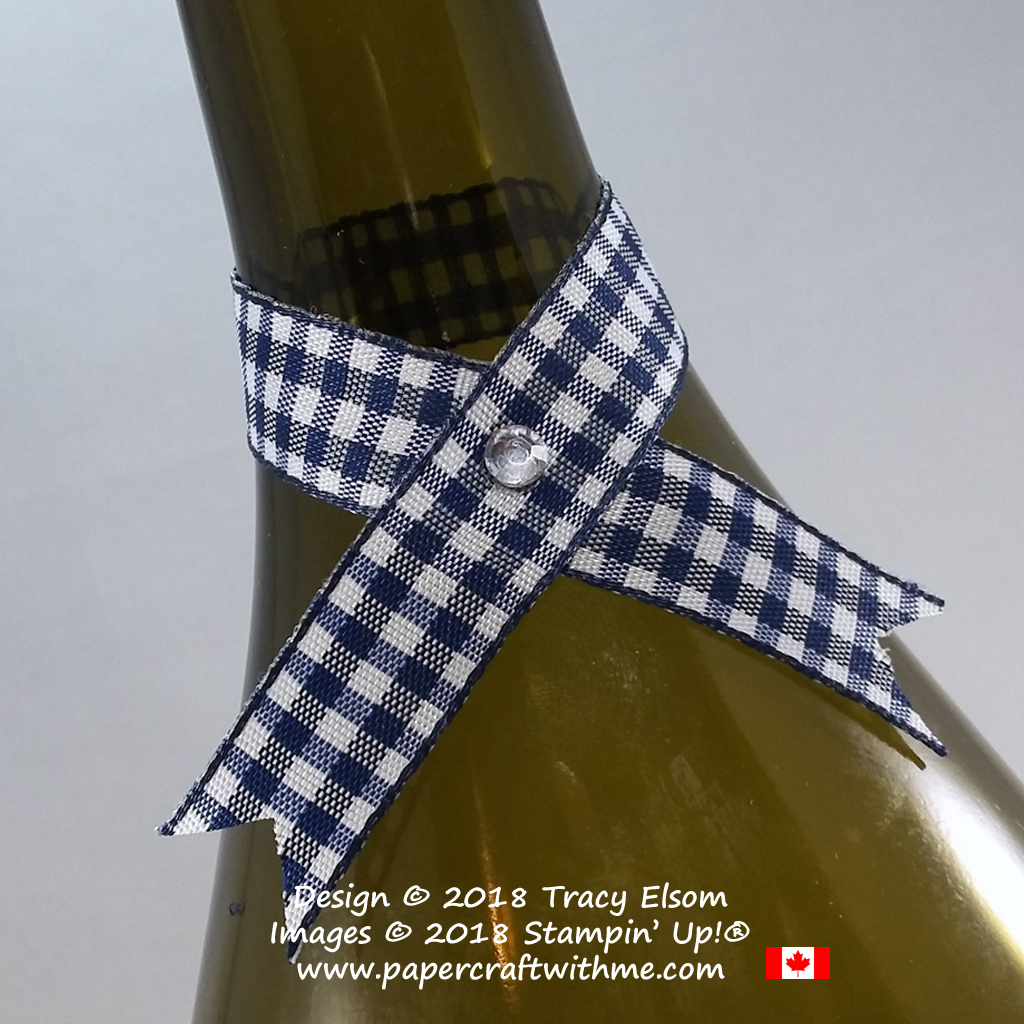 Simple gingham ribbon collar for a bottle.