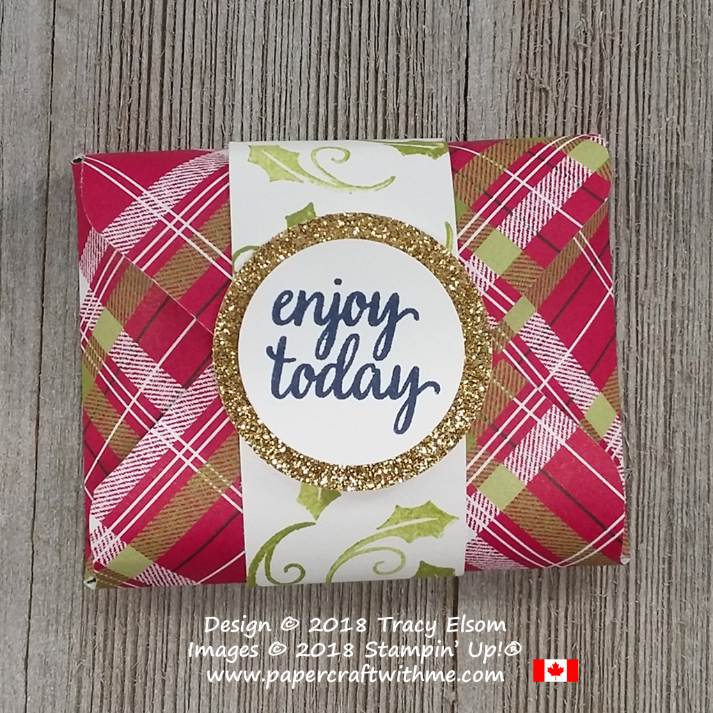 Pouch for a snack size York Peppermint Patty created using the Envelope Punch Board from Stampin' Up!