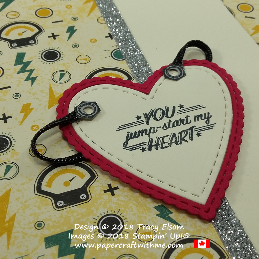 Close Up of masculine Valentine's card created using the Geared Up Garage Stamp Set and Be Mine Stitched Framelits from Stampin' Up!