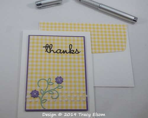 1674 Gingham Thank You Card