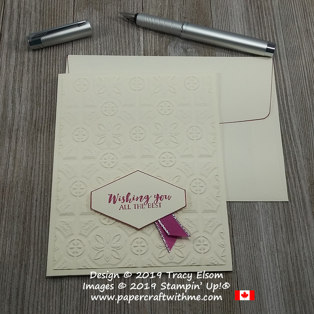 This card has an deep embossed Tin Tile background with a wishing all the best sentiment from the First Frost Stamp Set from Stampin' Up!
