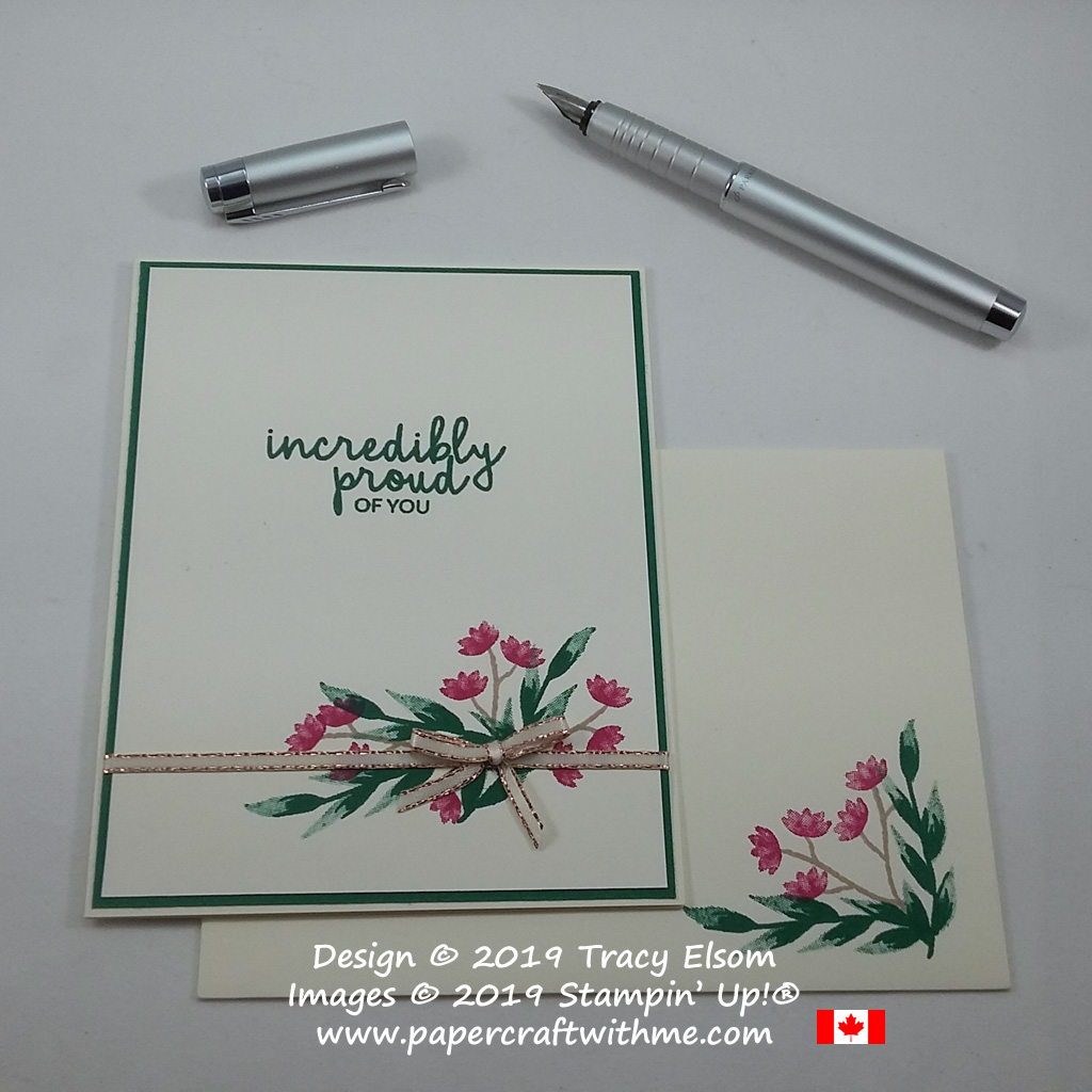 Stamped floral arrangement and 'incredibly proud of you' sentiment from the Incredible Like You Stamp Set from Stampin' Up!