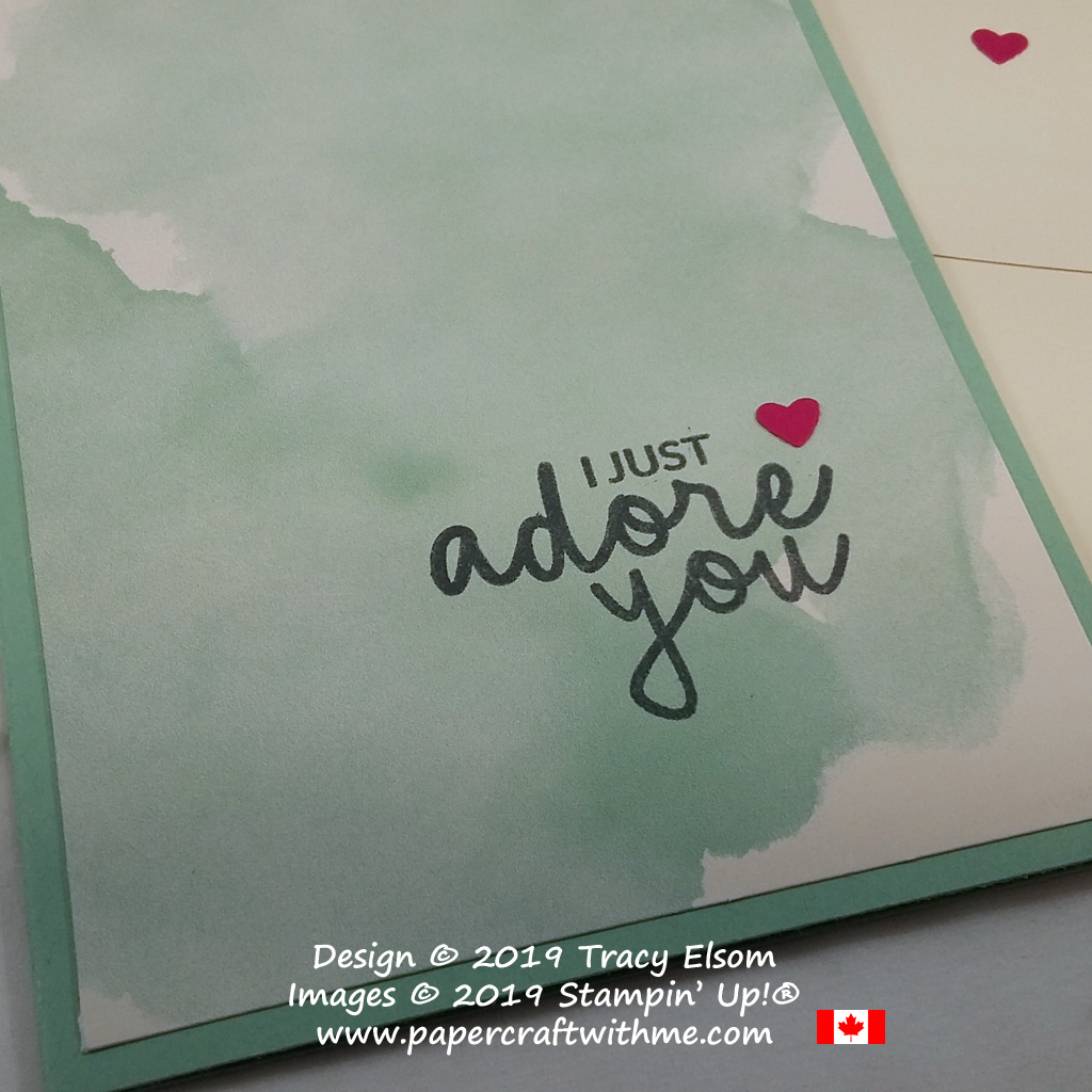 Close up of simple Valentine's card created with printed notecard and Incredible Like You Stamp Set from Stampin' Up!