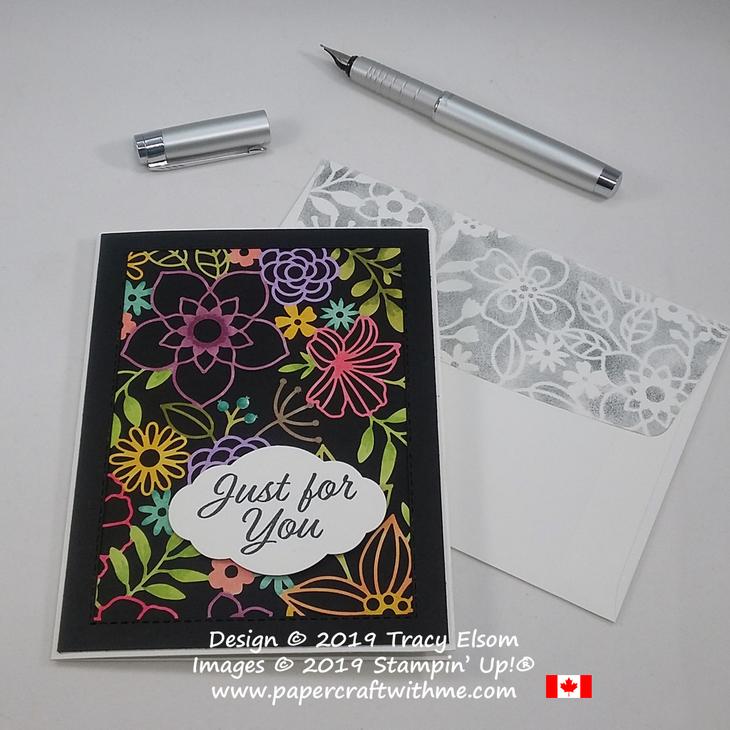 Just for you card with adaptation of the black magic technique using Delightfully Detailed Laser-cut Paper coloured using Stampin' Blends alcohol markers.