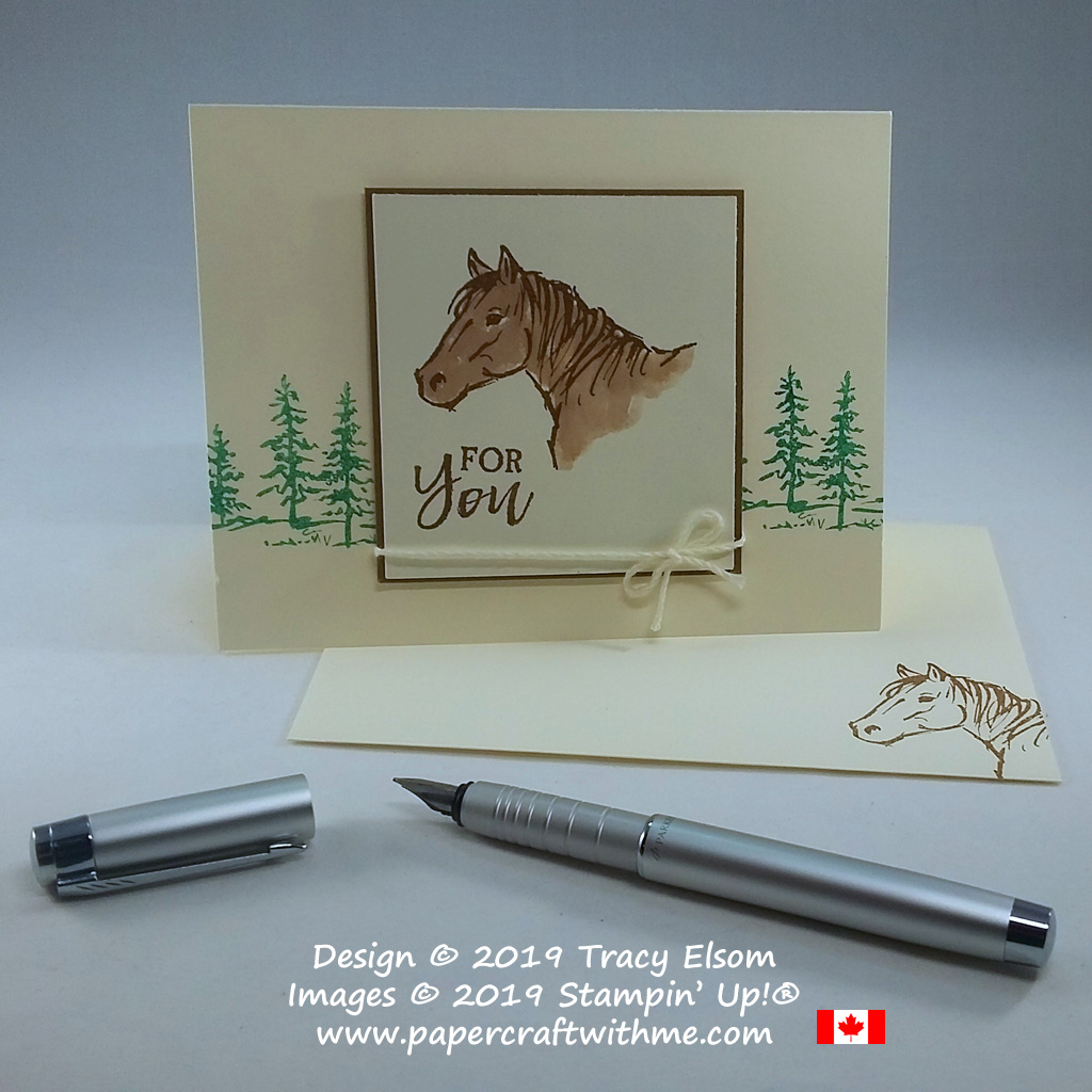 For you card with horse head image and trees from the Let it Ride Stamp Set from Stampin' Up!