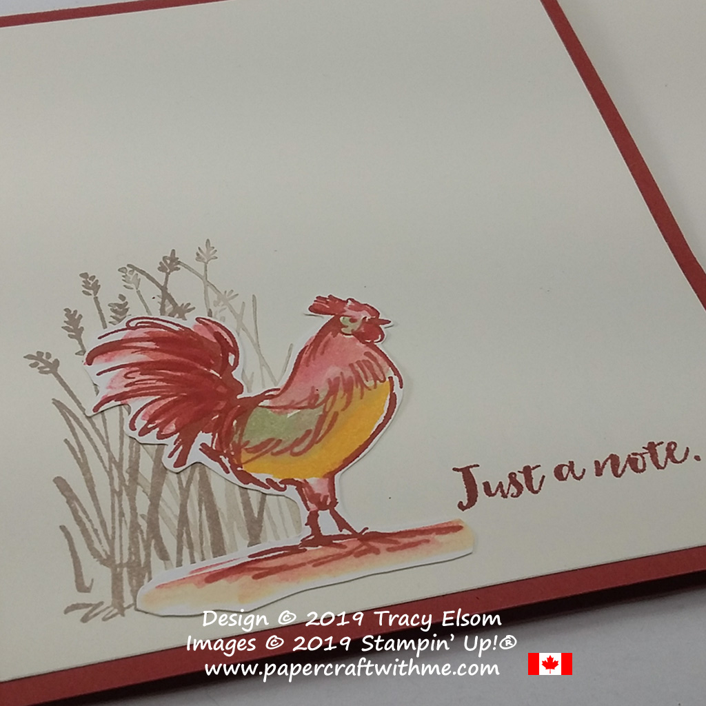 Close up of watercoloured rooster from the free Home to Roost Stamp Set from Stampin' Up!