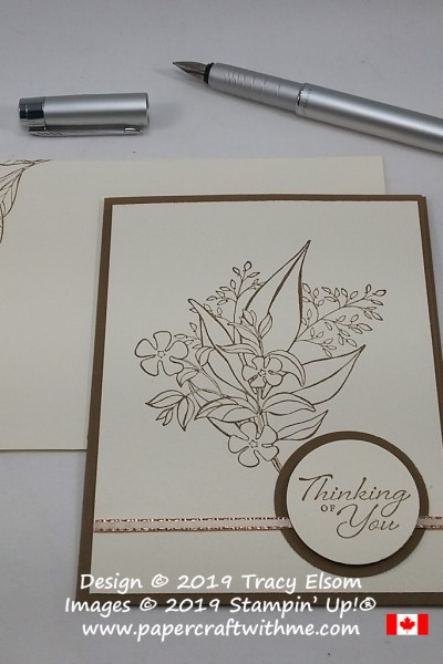 Simple sepia thinking of you card created using the Wonderful Romance Stamp Set from Stampin' Up!