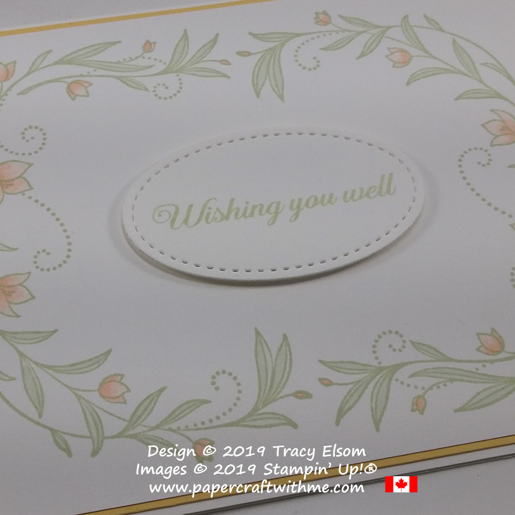 Close up of simple card created using floral images from the His Grace Stamp Set and wishing you well sentiment from the free Lasting Lily Stamp Set from Stampin' Up!