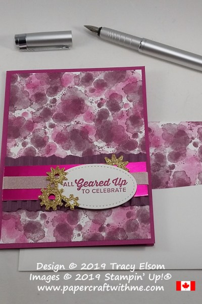 Feminine card created using the Geared Up Garage Stamp Set to create the background and All Geared Up To Celebrate sentiment. The gold gears were cut using dies from the coordinating Garage Gears Thinlits. All products available from Stampin' Up!