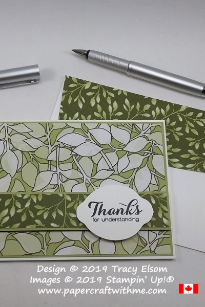 Simple card created with altered Floral Romance DSP. The ' thanks for understanding ' sentiment comes from the Vibrant Vases Stamp Set and was cut out using the Lemon Builder Punch. All products available from Stampin' Up!