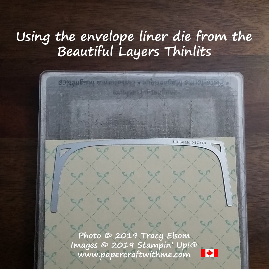 Images showing how to use the die from the Beautiful Layers Thinlits to cut an envelope liner.