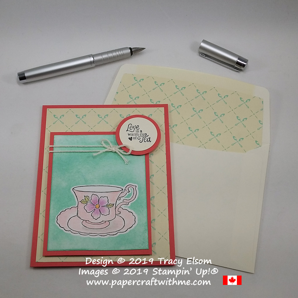 Love is card created using the Tea Together Stamp Set and Free coordinating Tea Time Framelits from Stampin' Up!