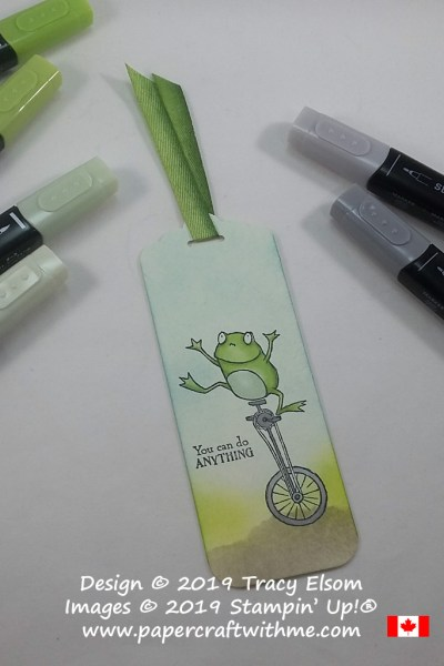 Handmade bookmark featuring the frog on a unicycle image from the So Hoppy Stamp Set available FREE from Stampin' Up! during Sale-A-Bration (Jan 3 to Mar 31, 2019)