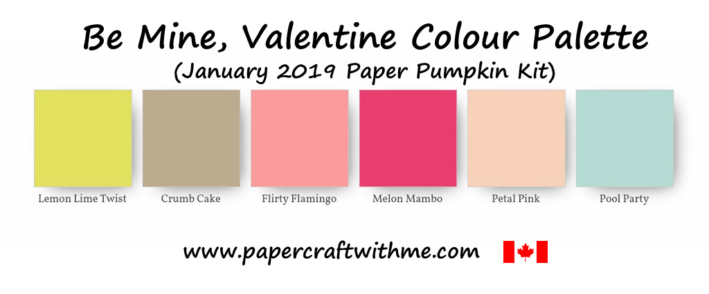 Colour palette for the Be Mine, Valentine (January 2019) Paper Pumpkin Kit from Stampin' Up!
