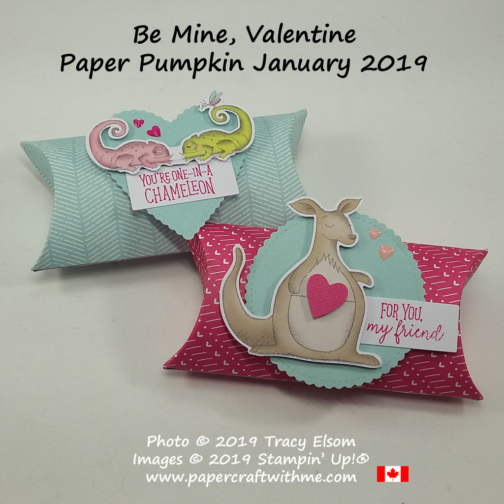 Be Mine, Valentine pillow boxes from the January 2019 Paper Pumpkin kit from Stampin' Up!