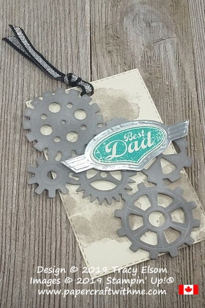 Large masculine gift tag with best dad sentiment. Created using the Geared Up Garage Stamp Set and coordinating Garage Gears Thinlits Dies from Stampin' Up!