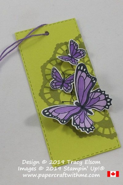 Large layered gift tag with doily background. The butterflies are from the Butterfly Gala Stamp Set and coordinating Butterfly Duet Punch from Stampin' Up!