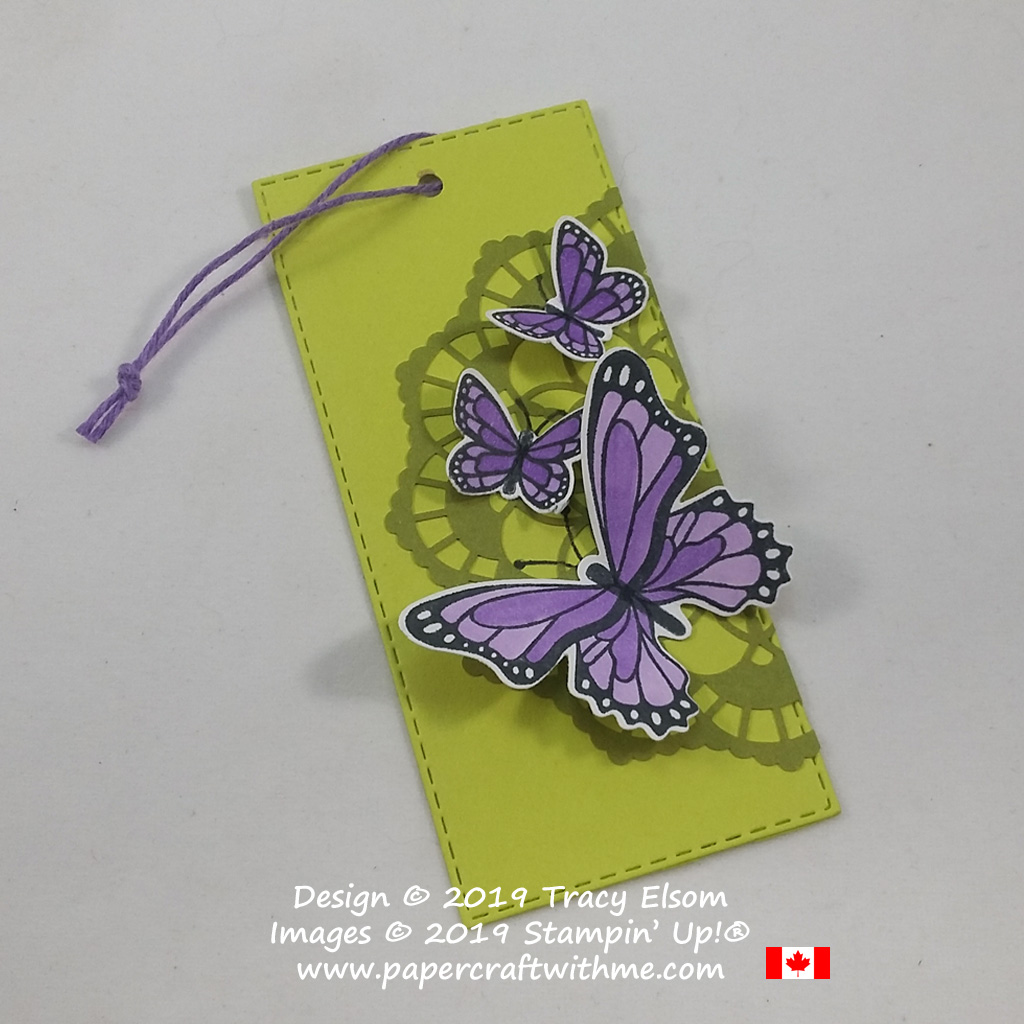 Large butterflies layered gift tag with doily background. The butterflies are from the Butterfly Gala Stamp Set and coordinating Butterfly Duet Punch from Stampin' Up!