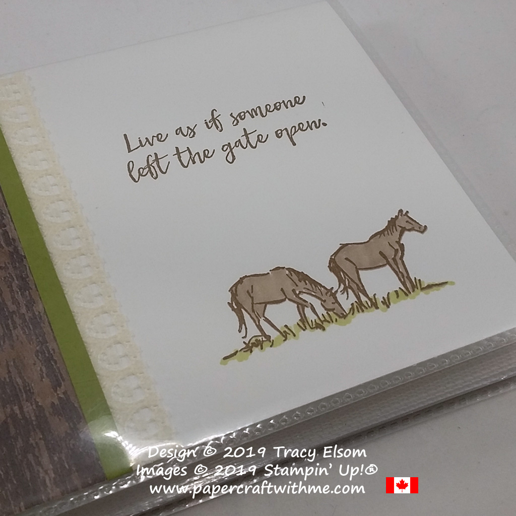 Close up of mini photo album decorated using the Let It Ride Stamp Set from Stampin' Up!