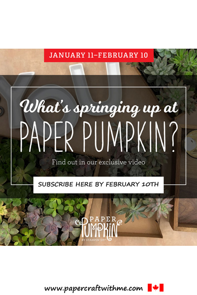 The February 2019 Paper Pumpkin kit has everything you need to make 9 full-size cards.  Kit will ship around January 15, 2019.