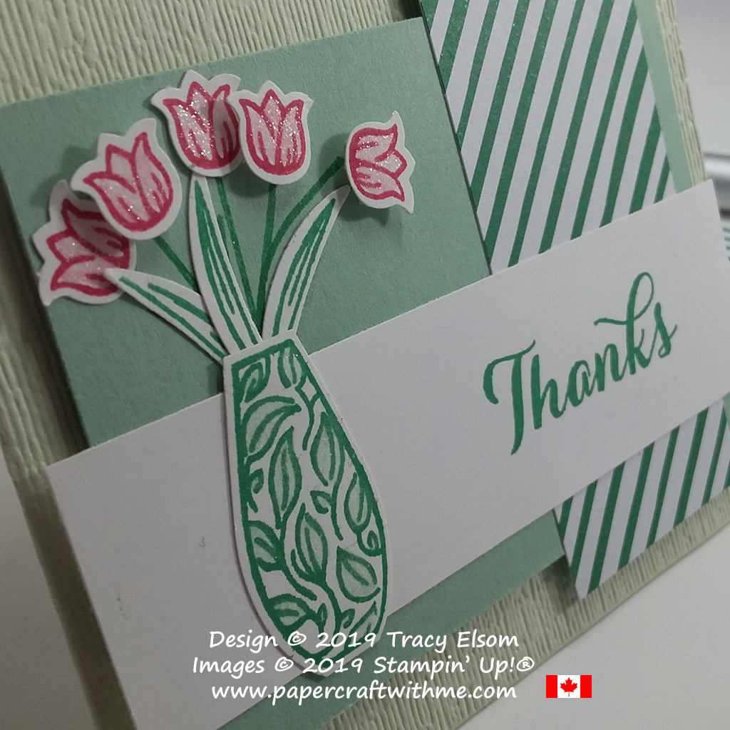 Close up of tulip thanks card created using the Vibrant Vases Stamp Set and coordinating Vases Builder Punch from Stampin' Up!