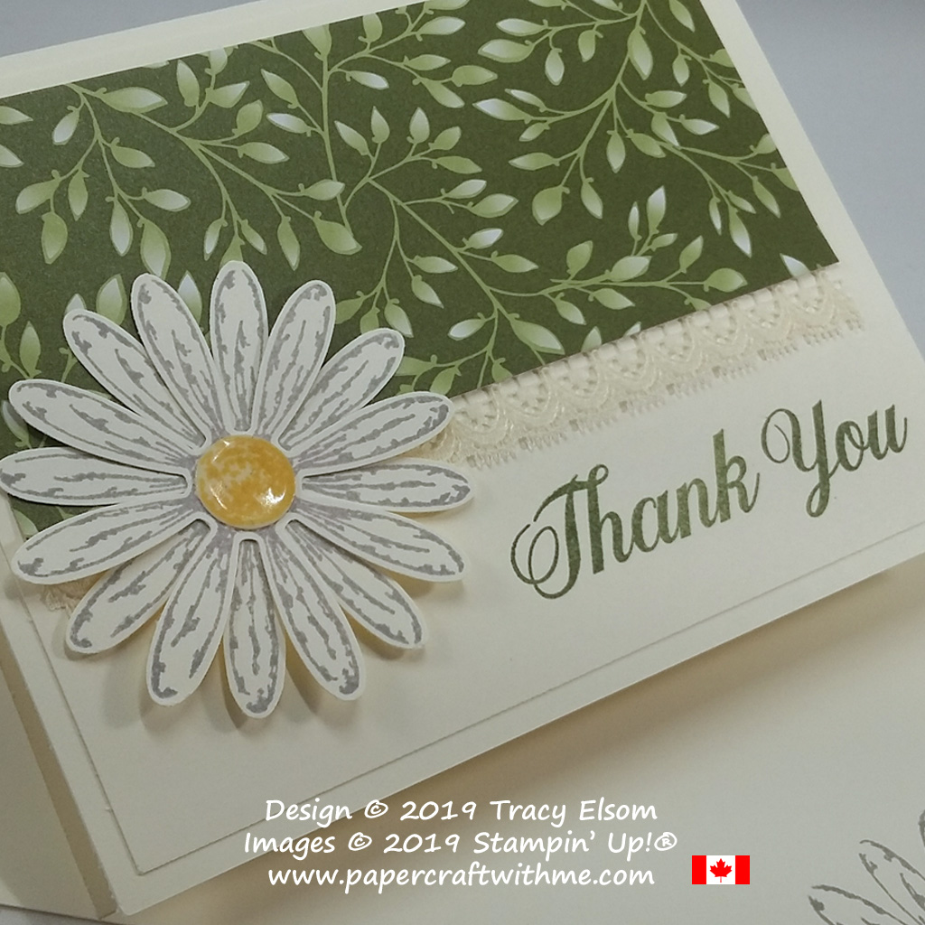 Close up of daisy thank you card created using the Daisy Delight Stamp Set and coordinating Daisy Punch from Stampin' Up!