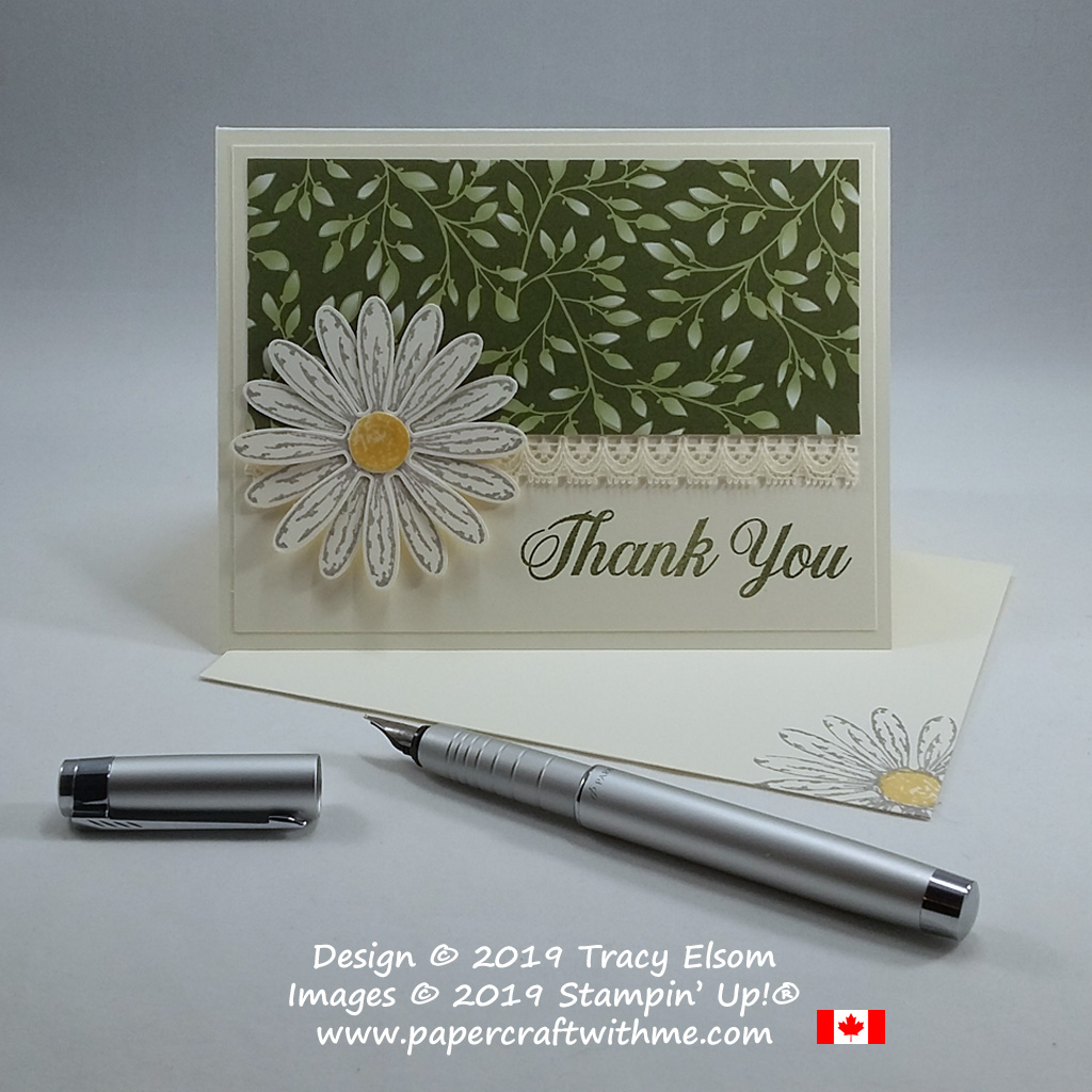 Daisy thank you card created using the Daisy Delight Stamp Set and coordinating Daisy Punch from Stampin' Up!